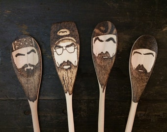 Duck Dynasty Wooden Spoons -Set of 4- Mustache Beard Spoon Gifts for Him Under 30 Si Robertson Hey Jack Happy Happy Happy Redneck Christmas