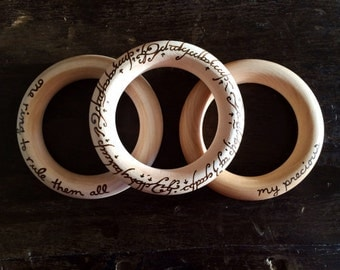 Lord of the Rings Baby Teether (Set of 3) LOTR Teething Ring Shower Gifts Under 50 Baby's First Christmas Stocking Stuffers Hobbit Costume