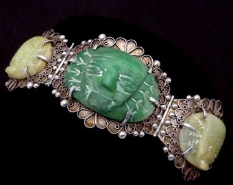 Vintage 1930s Taxco Mexico Mexican 900 Silver Stone Huge Warrior Bracelet 22322