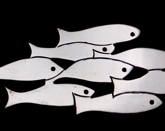 Vintage Aviles Taxco Mexican Sterling Silver Modernist Swimming Fish Pin 22355