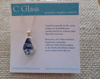 Blue Willow Sea Pottery Necklace