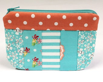 Small Makeup Bag, Cosmetic Case, Travel Bag, Zipper Pouch - READY to SHIP
