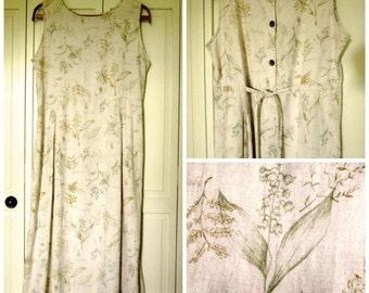 Loose Dress baggy sundress beach cover up summer maxi dress natural beige linen dress herbs plant flowers vintage 90s women medium large