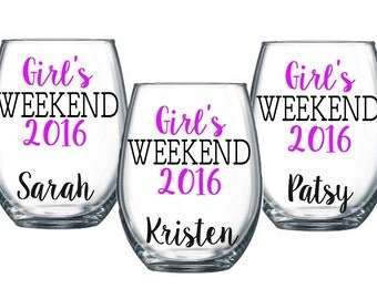6 Girl's Weekend Stemless Wine Glass