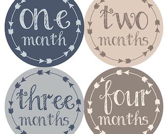 FREE GIFT, Tribal Arrow Month Stickers, Baby Month Stickers, Tribal, Baby Boy, Navy Blue, Brown, Beige, Gray, Grey, Tribal Nursery Decor