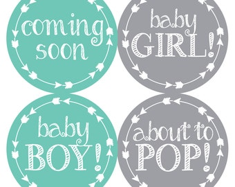 FREE GIFT Pregnancy Announcement, Pregnancy Belly Stickers, Belly Stickers, Weekly Pregnancy Stickers, Teal, Gray, Arrows, Baby Bump Sticker