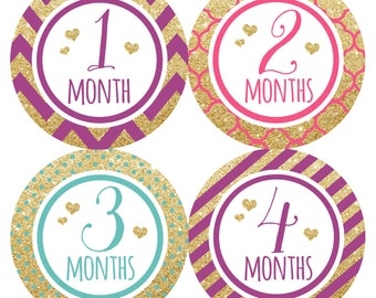FREE GIFT, Baby Girl Month Stickers, Monthly Baby Stickers Girl, Baby Month Stickers Girl, Gold Glitter. Coral, Pink, Mint, Teal, Hearts