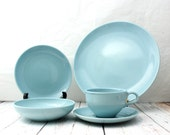 RESERVED for Paula Russel Wright 5 Piece Place Setting, Russel Wright Iroquois Casual China Place Setting, Ice Blue Place Setting,