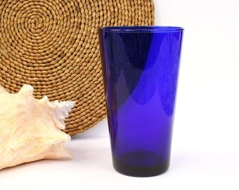 Cobalt blue glass tumbler, blue glassware nautical decor