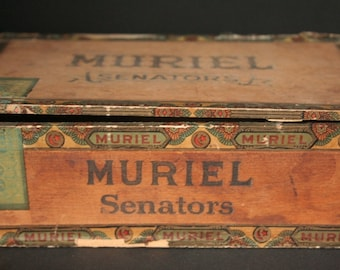 Old cigar box, vintage cigar box, Muriel cigar box