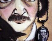 Edgar Allan Poe Wearable Art Pendant, Illustrated Literary Necklace, Poe Jewelry
