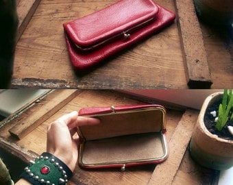 Versatile Vintage Genuine Leather Clutch Hand Bag Wallet Red