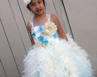 Flower girl dress. Hot Pink and White Feather Tutu Dress. Wedding. Birthday. Fllower Girls Dress.Feather Dresss.Vintage Dress.Peach Dress