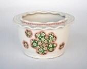 White Ruffled Rim Jewelry Bowl