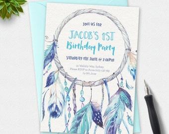 Birthday Invitation, dreamcatcher invitation, kids invitation, Custom invitation, party invitation, first birthday, boys invitation, feather