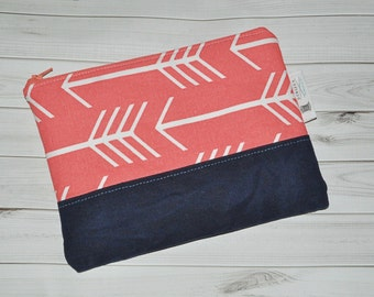 READY TO SHIP Arrow Clutch - Coral + Navy Waxed Canvas Purse - Boho Zip Purse - Gift for Her