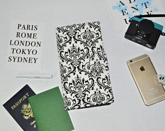 Damask Travel Wallet - Black and White Boarding Pass Organizer - Magnet Tab - Fabric Passport Wallet - Gift for Traveler