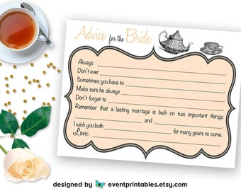 Printable Bridal Shower Mad Libs, Tea Party Advice for Bride Cards, Peach Light Orange Shower Game DIGITAL DOWNLOAD by Event Printables
