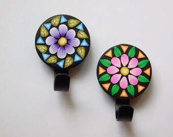 Magnetic Hooks, polymer clay flower magnets