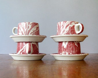 Vintage Restaurant Ware Wallace China Shadowleaf Palm Cups - Four Red