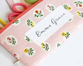 Personalize Your Apple White Zipper Pouch, Add a Name, Customize Your Pencil Pouch Order, Add a Phrase to Your Pencil Bag