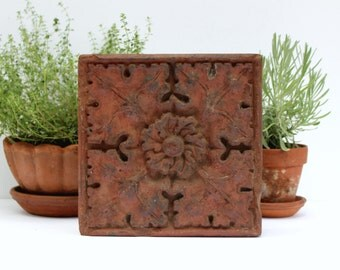 Victorian Terracotta Brick - Antique Pressed Terra Cotta Tile - Architectural Salvage - Floral Flower Design - Ornamental Garden Decor -