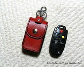 100% hand stitched handmade red cowhide leather car remote key fob holder/ case with swivel snap hook and key ring