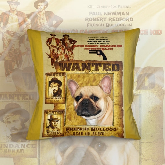 French Bulldog Art Pillow Case Throw Pillow - Butch Cassidy and the Sundance Kid Movie Poster