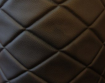"Upholstery Vinyl Leather Faux vinyl Black 6""x4"" Diamond Quilted Vinyl auto headliner headboard fabric with 3/8"" Foam Backing 54"" Wide"