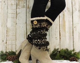SCANDINAVIAN SNOWFLAKE brown knit snowflake womens legwarmers wood button  boots leggings snowflake leg warmers  Catherine Cole Studio LW6