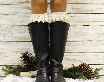 DAISY MAY in Ivory Lace boot socks, womens boot socks, knee socks, tall boot socks, lace socks, country grace, wedding boho,rustic | BKS8