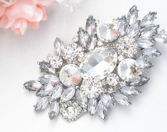 SALE Crystal wedding bridal brooch , head piece