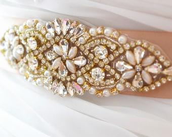 SALE - Gold Wedding Belt, Bridal Sash Belt, Bridesmaids Sash Belt, Pearl Crystal Wedding Sash Belt , crystal & pearl