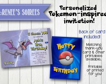 POKEMON-Inspired Aerodactyl INVITATION - Printable Birthday Invite - Personalized DIY