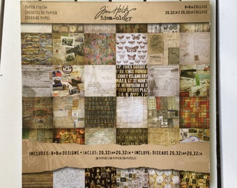 Tim Holtz Paper Stash Pad of 8X8 papers, 34 sheets (1 of ea. design), gently used-2 sheets are missing from the original 36 pages