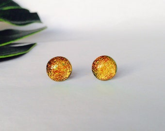 Gold Dichroic glass stud earrings, on sterling silver - Fused dichroic glass