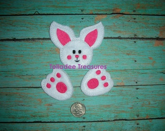 Bunny #2 Oversized Feltie  - Easter Felt - Great for Hair Bows or Crafts - Rabbit head and Feet - Pink, Green, Yellow, Purple