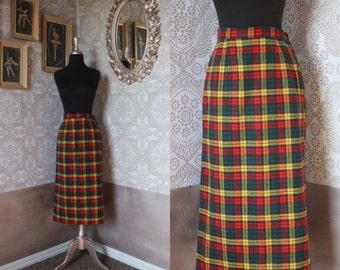 Vintage 1940's 50's Autumnal Plaid Wool Pencil Skirt Medium