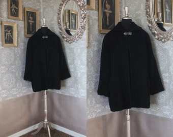 Vintage 1950's 60's Black Curly Poodle Hair Cropped Swing Coat M/L