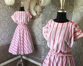 Vintage 1980's Pink and White Striped Dress M/L