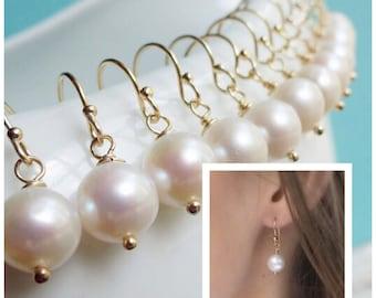 NINE Pairs of freshwater pearl earrings, Bridesmaid earrings, wedding jewelry, bridal gift set, simple pearl drop earrings, bridal jewelry
