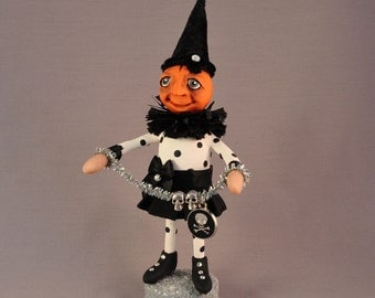 OOAK Polymer Clay Pumpkin Head Halloween Art Doll