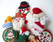 Christmas Kitsch collection, Holiday sequin craft knitted ornaments, Lot of nine