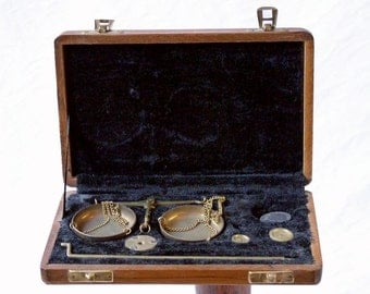 Brass scales, made in India, in carrying case