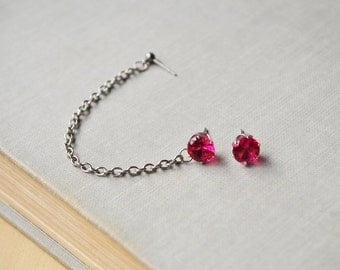 Fuchsia Pink Crystal Double Pierce Cartilage Earrings (Pair)