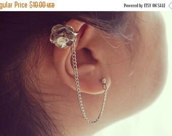VALENTINES DAY SALE Crystal and Flower Ear Cuffs Set