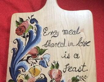 Norwegian Rosemaling -- Bread Board -- Hand Painted