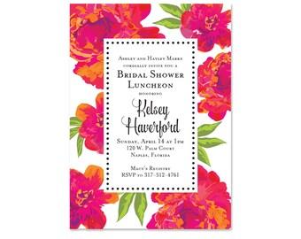 Bright, Modern Bridal Shower Invitations, Wedding Shower Invites, Floral, Lilly Pulitzer, Pink, Printed