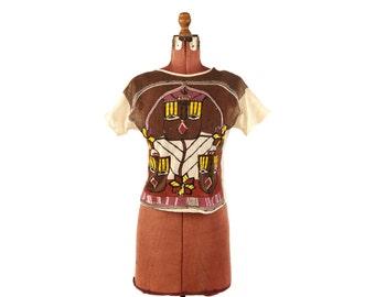 Vintage 1980's Sheer Cotton Mesh Ethnic Aztec Sequin Mini Crop Brown + Cream Top Shirt Blouse M