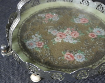 vintage 1930 chrome and glass cake serving plate